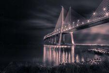PHOTO VASCO DE GAMA BRIDGE PORTUGAL NIGHT LARGE WALL ART PRINT POSTER LF2684