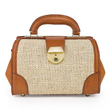 """Leather and Linen/Canvas Gladstone Doctors Bag 9"""" Fashion Bag Brown/Tan"""