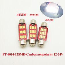 2 x C5W 239 Festoon 38mm 12* 4014 Canbus LED bulbs 5000K White