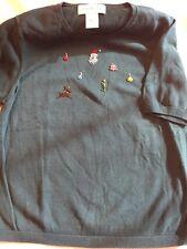 Susan Bristol Christmas Holiday Short Sleeve Sweater Green Size Medium
