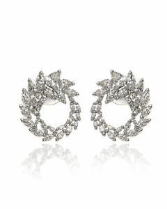 Swarovski Louison Rhodium Plated Czech White Crystal Earrings 5450934