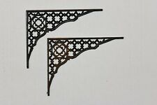 Antique Rustic Ornate Set of 2 Lattice Style Shelf Bracket Cast Iron Corbels