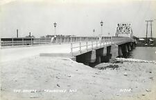 Kawaunee WI~Lamp Posts on Bascule Bridge Over River~1940s Real Photo Postcard