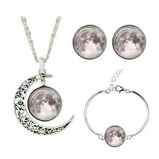 White Grey Space Galaxy Jewellery Set Stud Earrings Moon Necklace Bracelet S896