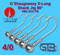 5 x VMC O`Shaugnessy Jig 9131 PS 4/0 - 10g Jigkopf Jighaken Eriekopf Bleikopf.