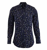 DOLCE & GABBANA GOLD RUNWAY Crowns & Keys Printed Cotton Shirt Blue 04807