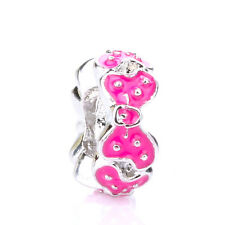 925 Silver Retro Dot Girl Mouse Rosered Bowknot Spacer Charm Bead For Bracelet