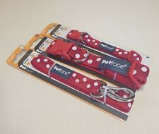 Petface Dog Collars - Dog Leads - Adjustable - Red Poker Dots - Various Sizes