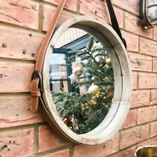 Large Wooden Porthole Mirror Deep 3D Frame Round Wall Hanging Strap Loop 35cm