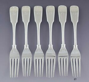 """Nice set 6 American Coin/Sterling Silver Fiddle Thread Dinner Forks 8"""" G Mono"""