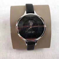 U.S. POLO ASSN. Women's Wrist Watch Quartz Silver Black Leather Strap Analogue
