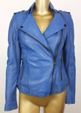 tigha Cobalt Blue Leather Leder Marlou Biker Jacket Coat S
