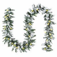 BCP 9ft Pre-Lit Snow Flocked Christmas Garland w/ 100 Clear LED Lights - Green