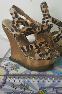 Irregular Choice Big L Leopard Print Wedge Sandals size 6 39