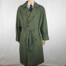 Sanyo Carol Cohen Mens Trench Coat Green Size 42R Long Belted Wool Blend Lining