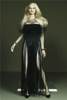 1/6 Female Dress Clothes Black Tassels Skirt 12'' Phicen Figure Suit Accessory