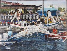 """Ancien Tableau """"Joute Nautique"""" Peinture Huile Antique Oil Painting"""