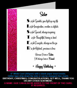 'Sister Poem' Birthday Card, Christmas Card, Special Sister, Step Sister In Law