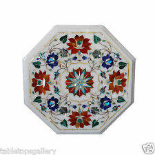 """12"""" White Marble Coffee Table Top Carnelian Gem Marquetry Beautiful Decor H370"""