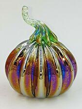 Neo Art Glass handmade iridescent purple pumpkin paperweight sculpture K.Heaton