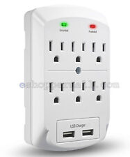 6 OUTLET SURGE PROTECTOR GROUNDING WALL TAP 2 USB PORTS 2.1A CHARGER LIGHT GREY