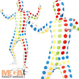 Twister Second Skin Mens Fancy Dress 80s Retro Board Game Adults Costume Outfit