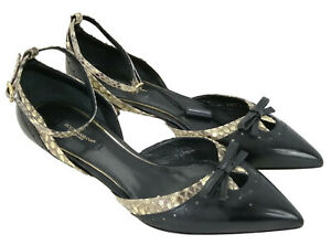 D&G Dolce Gabbana Black Patent Leather Python High Heeled Shoes Womens UK4 EU37
