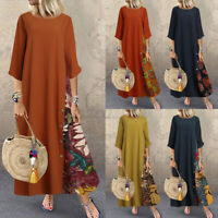UK Women A-Line Flare Swing Floral Patchwork Casual Loose Long Maxi Kaftan Dress