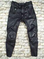 German Leather Motorcycle Pants S Vintage Black Bandit Cafe Racer