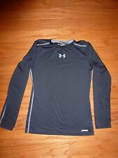 UNDER ARMOUR, HEAT GEAR, FITTED, LS SHIRT, SZ YLG, BLACK/GRAY