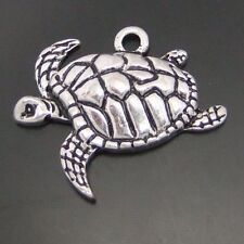 HOT Antiqued Style Silver Tone Alloy Charms Pendants Sea Turtle 21*17*3mm 5PCS