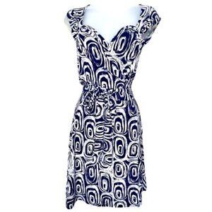 Norma Kamali Wrap Dress Geometric Print Navy White Women Size Small