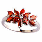 Wedding Garnet White Topaz Fashion Women Gemstone Silver Ring Size 6 7 8 9 10