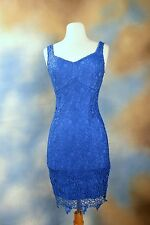 NEW GUESS JEANS blue lace overlay sheath shift party occasion dress SZ: 4