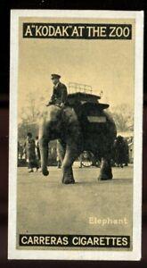 Tobacco Card, Carreras, KODAK AT THE ZOO, A Series, 1924, Elephant, #33