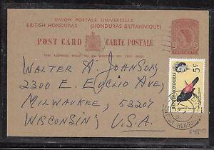 BRITISH HONDURAS (P1201BB) QEII 1964 2C PSC +5C BIRD TO USA WITH MSG