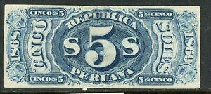Peru Documentary Revenue 1868-69 5 Soles A&M 10P- Plate Proof MNG-