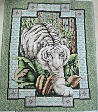 NEW Alabaster Jungle WHITE TIGER Panel for QUILT WALL HANGING HOME DECOR Project