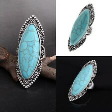 Women Adjustable Ring Large Oval Diamante Sparkly Turquoise Ring Fashion Jewelry