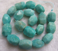 """15x20mm Natural Russian Amazonite Faceted Freeform Loose Beads 15.5"""""""