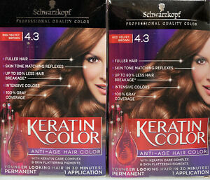 2-Schwarzkopf Keratin Anti-Age Hair Color Kit Red Velvet Brown 4.3
