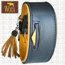 Premium Greyhound Collar Tassel WOZA Handmade Full Leather Padded Cow Napa HM828