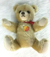 "Brummbar Steiff Knopf Im Ohr Germany Vintage Teddy Bear 10"" Red Ribbon"