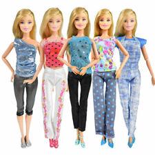 5 Set Dress Up Kleidung Kleider Tops Hose Partymode Für Barbie Doll Puppen Neu