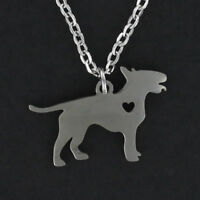Bull Terrier Dog Open Heart Necklace - Stainless Steel Charm Pendant Pet NEW