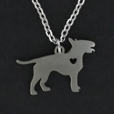 Bull Terrier Dog Open Heart Necklace - Stainless Steel Charm Pendant Pet NEW