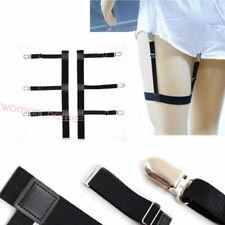 Men Women Shirt Stays Holder Suspender Locking Clamp Unifom Elastic Garter Belt