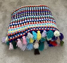 Granny Square crochet blanket vintage style large tassels pompoms wool camping
