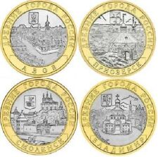 Russia 2008 10 Rubles 4 coins ANCIENT TOWNS OF RUSSIA BiMetal XF SPMD