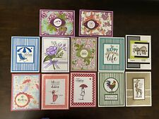 Lot Of 12 Handmade Stampin' Up! Greeting Cards with Envelopes Assorted Occasions